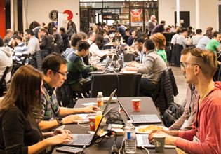 Manulife employees at a hackathon